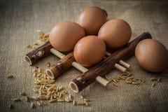 鸡鸡蛋和麦子 免版税库存图片