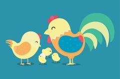 鸡, 2017新年卡片,滑稽的雄鸡, 2017年的标志 向量例证