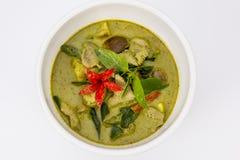 鸡绿色咖喱,泰国食物 免版税图库摄影