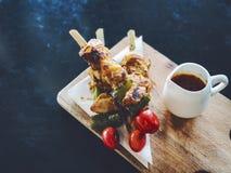 鸡BBQ用辣调味汁 图库摄影