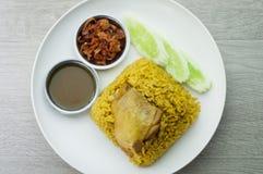 鸡Biryani用绿色酸辣调味品 免版税库存照片