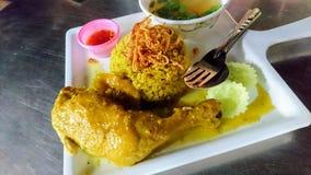 鸡Biryani用绿色酸辣调味品 库存照片