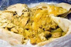 鸡dahl食物pouri roti特立尼达 库存照片