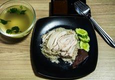 鸡hainanese米 免版税图库摄影