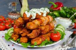 鸡kebab用蕃茄 库存照片