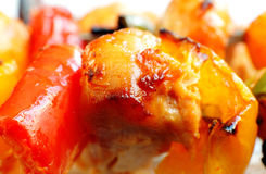 鸡tikka和辣椒的果实宏指令  免版税图库摄影