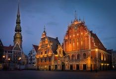 鸥的议院是大厦位于在老镇里加,拉脱维亚 免版税库存图片