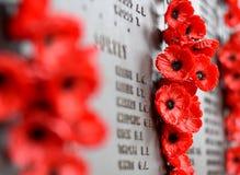鸦片墙壁列出在使用中军队死所有澳大利亚人的名字 免版税库存图片