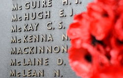 鸦片墙壁列出在使用中军队死所有澳大利亚人的名字 库存照片