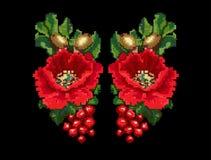 鸦片橡子荚莲属的植物纺织品设计的刺绣传染媒介 免版税库存照片