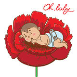 鸦片的逗人喜爱的矮小的男婴 向量例证