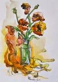 鸦片花束在花瓶的 皇族释放例证