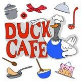 鸭子咖啡馆集合 库存照片