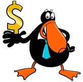 鸭子商人与美元的符号的漫画人物 库存例证