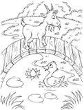 鸭子山羊 库存图片