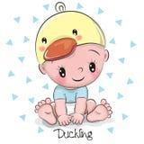 鸭子帽子的逗人喜爱的动画片男婴 免版税库存图片