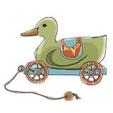 鸭子拉扯木玩具 库存图片