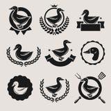 鸭子标签和元素集 向量 图库摄影