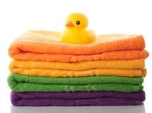 鸭子橡胶栈毛巾 库存图片
