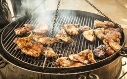 鸭子飞过在格栅的烧烤 库存照片