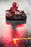 鸭子鸭子按照领导先锋测深索一红色橡胶黄色 库存照片