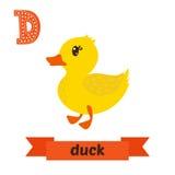 鸭子 D信件 逗人喜爱的在传染媒介的儿童动物字母表 滑稽的c 免版税库存图片