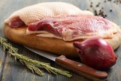 鸭胸脯、迷迭香和红洋葱 免版税库存图片