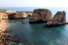 鸽子岩石在贝鲁特 免版税图库摄影