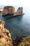 鸽子岩石在贝鲁特 库存照片