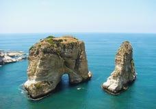 鸽子岩石,贝鲁特,黎巴嫩 免版税库存照片