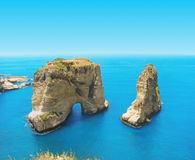 鸽子岩石,黎巴嫩,贝鲁特 免版税库存图片
