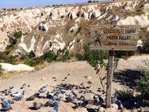 鸽子谷,卡帕多细亚,土耳其入口  免版税库存图片