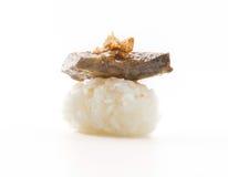 鹅肝寿司 免版税库存照片