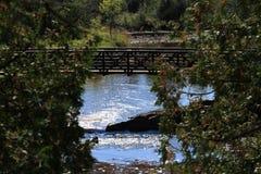 鹅莓河明尼苏达桥梁在与叶子的秋天 免版税库存图片
