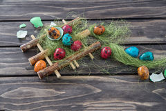 鹌鹑复活节彩蛋 库存图片