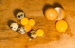 鹌鹑对鸡鸡蛋 免版税库存照片