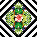 鹦鹉、植物和木槿开花几何镜子的样式 免版税库存图片