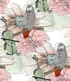 鹦鹉 无缝的模式 免版税库存图片