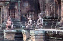 鹰报雕象在Banteay Srey寺庙,柬埔寨的 库存图片