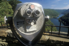 鹰点国家公园在新的河的风景高速公路美国路线60在Ansted, WV俯视 免版税库存图片