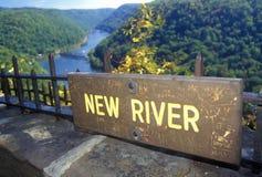 鹰点国家公园在新的河的风景高速公路美国路线60在Ansted, WV俯视 免版税图库摄影