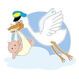 鹳和婴孩 免版税库存图片