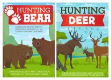 鹿、麋和北美灰熊动物,寻找体育 库存例证