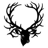 鹿剪影朝向与在白色的大垫铁 免版税库存图片