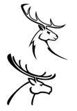 鹿剪影 库存图片