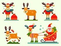 鹿动物的圣诞节逗人喜爱的驯鹿圣诞老人字符传染媒介新年例证雪橇的 免版税库存照片