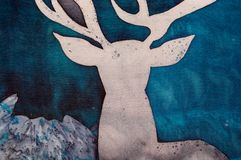 鹿和神秘主义者山,片段 向量例证
