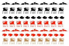 鹿和鱼装饰元素 皇族释放例证