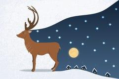 鹿和满天星斗的天空 免版税库存照片