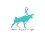 鹿商标设计模板 麋剪影概念象 库存图片